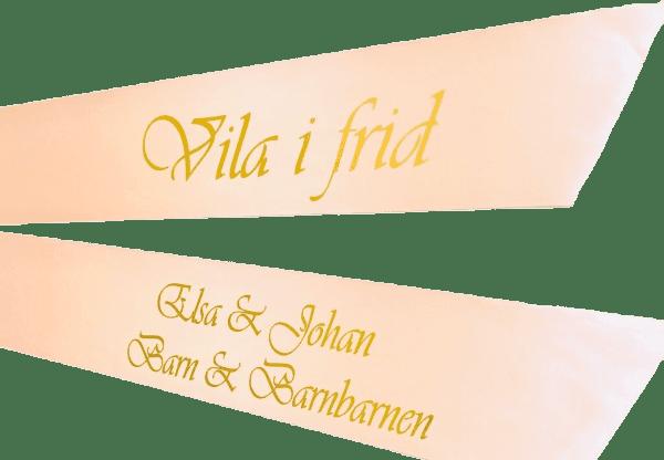 Ljusrosa(aprikos)-Glossyguldtext-begravningsband